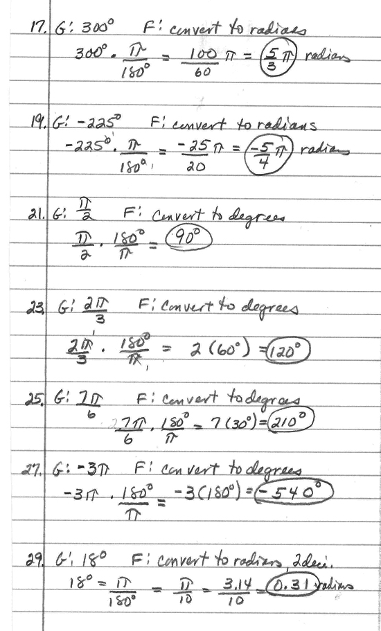 Algebra and trigonometry homework help