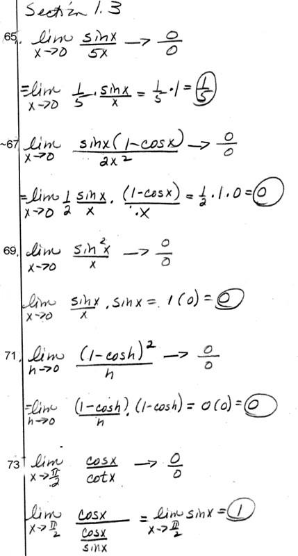 Calculus homework problems