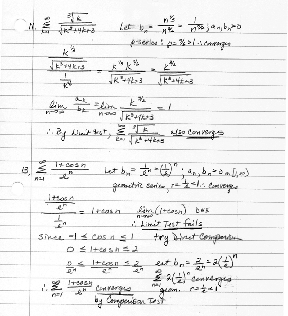 CALCULUS homework problems - Series