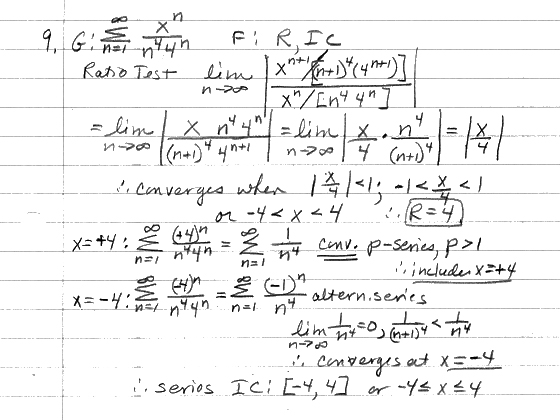 CALCULUS homework problems - Power Series