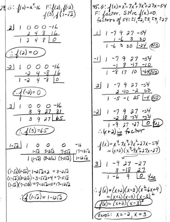 synthetic division precalc homework problems