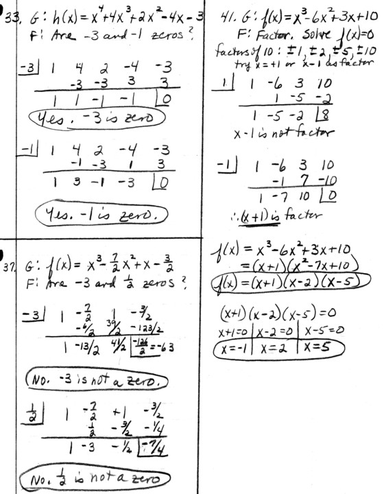 Synthetic Division: PRECALC Homework Problems